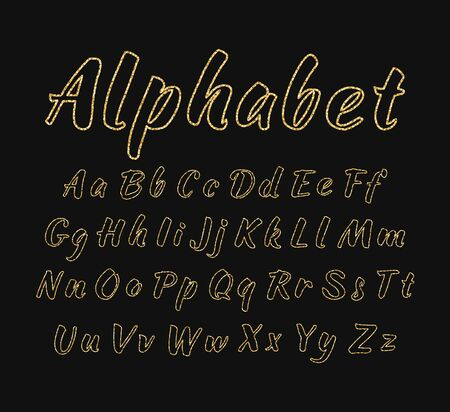 Vector handwritten alphabet. Uppercase and lowercase letters. Illustration
