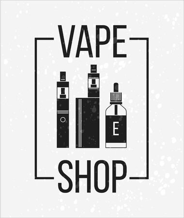 eliquid: Vector icons of vape and accessories