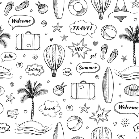 Vector seamless pattern of hand drawn travel doodle. Tourism and summer sketch with travelling elements and speech bubbles Ilustração