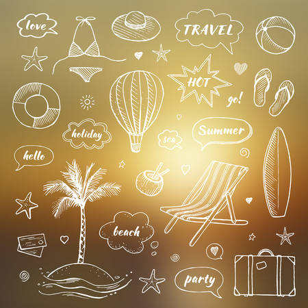 Set of hand drawn travel doodle. Tourism and summer sketch with travelling elements and speech bubbles. Vector illustration on a blurred background Ilustração