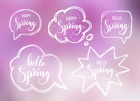 Hello spring. Lettering on speech bubbles. Vector illustration on blurred background on pink.