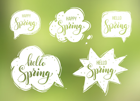 Hello spring. Lettering on speech bubbles. Vector illustration blurred background Ilustração