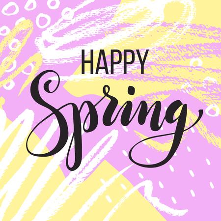 Happy spring. Lettering on Hand drawn Abstract background. Vector illustration Ilustração