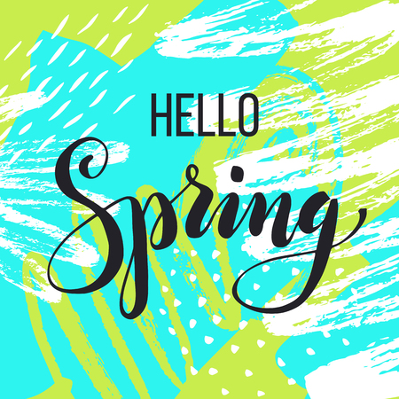 Hello spring. Lettering on hand drawn abstract background. Ilustração