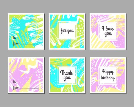 Set of creative universal abstract art posters. Hand drawn textures. Wedding, anniversary, birthday, Valentins day, party invitations. Greeting cards Ilustração