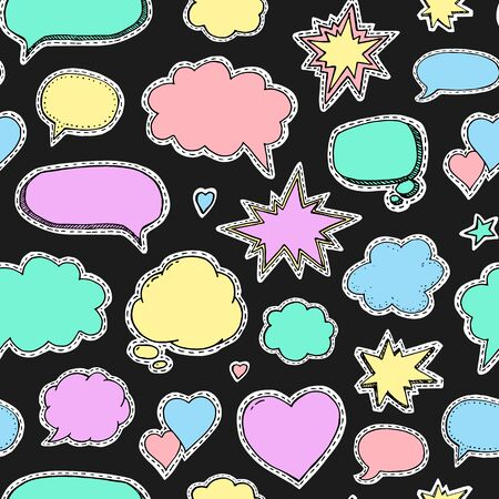 Hand drawn set of speech bubbles. Vector seamless pattern. Endless abstract background. Fashion patch badges and stickers Ilustração