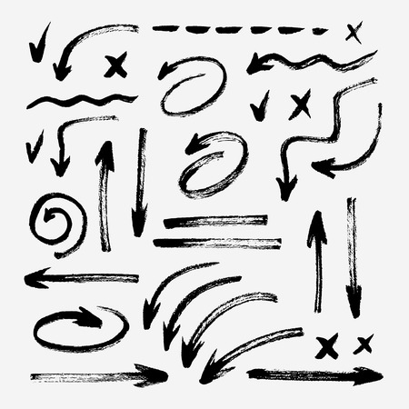 Set of different hand drawn grunge brush strokes, arrows