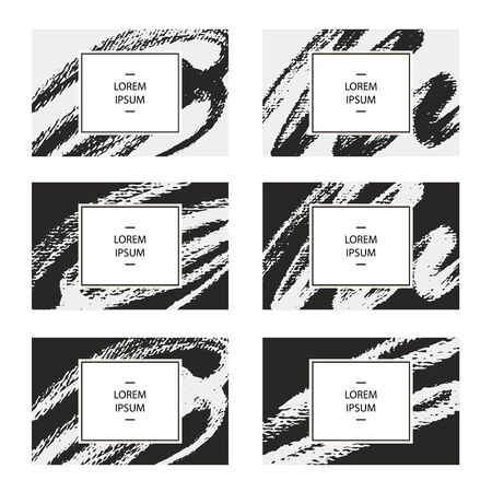 Set of business cards. Vector illustration for corporate identity, individual cards, form style. Dry brush template.