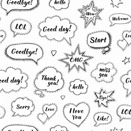 Hand drawn set of speech bubbles with dialog words: Hi, Love, Sorry, Welcome, Bye. Vector seamless pattern. Endless abstract background Ilustração