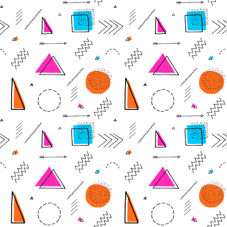 Memphis design 80s geometric style seamless pattern. Hand drawn set. Colorful pattern with different shapes objects. Design for wrapping paper, fabric background