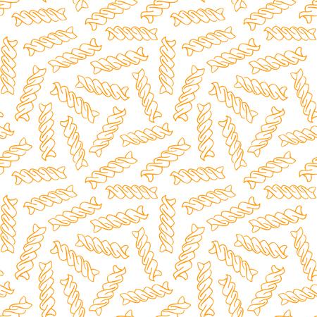 Vector hand drawn pasta Fusilli. Seamless pattern. Endless background