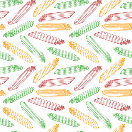 Vector hand drawn pasta Penne. Seamless pattern. Endless background