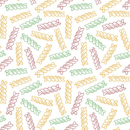 Vector hand drawn pasta Fusilli. Seamless pattern of Fusilli tricolore. White background