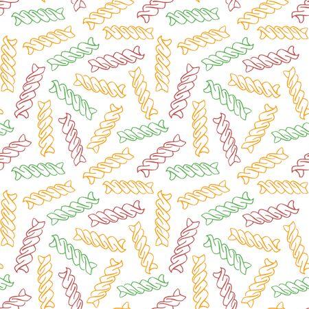 Vector hand drawn pasta Fusilli. Seamless pattern of Fusilli tricolore. White background