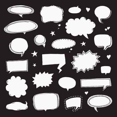 Hand drawn set of speech bubbles.  Vector illustration on black background Ilustração