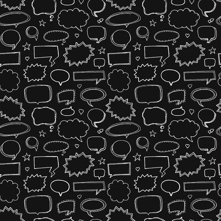 Hand drawn seamless pattern of speech bubbles on black background