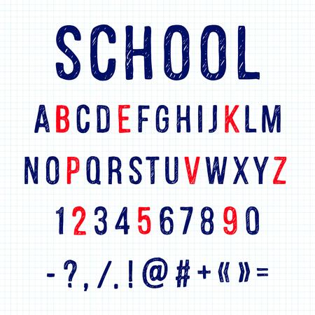 Hand drawn letters.  Vector alphabet on white background Ilustração