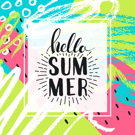 Hello summer. Lettering on Hand drawn Abstract background. Vector illustration Ilustração