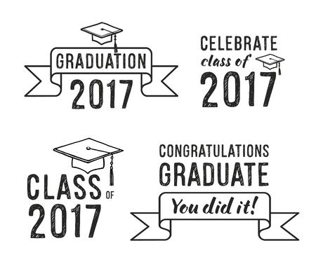 Congratulations graduate 2017, Graduation Vector Set Ilustração