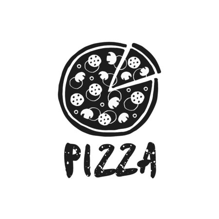 Vector hand drawn doodle pizza and word pizza
