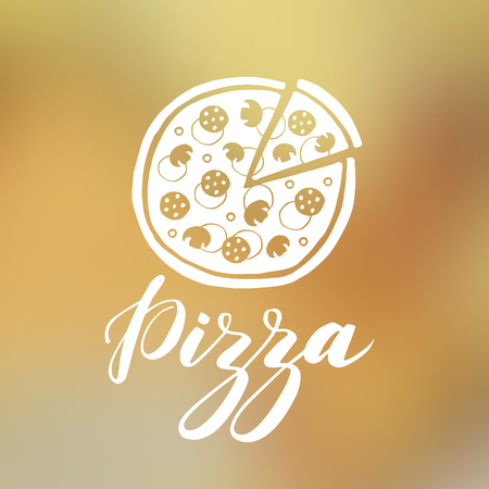 Vector hand drawn pizza and word pizza on blurred background Ilustração
