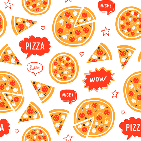 Vector hand drawn pizza and speech bubbles with words: nice, wow, pizza, hello. Seamless pattern on white background