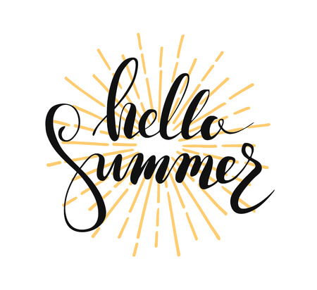 Hello summer lettering Ilustração
