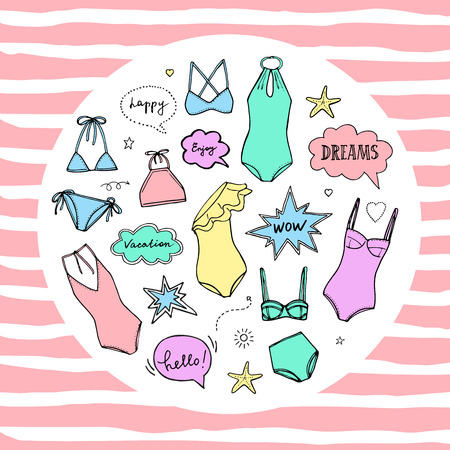Summer swimming suits collection. Swimsuit sketch for summer vacation. Doodle bikini set.