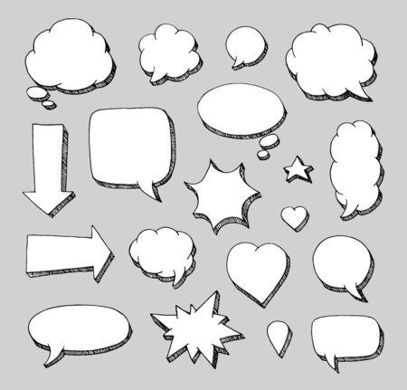 Hand drawn set of speech bubbles.  Vector illustration for stickers Ilustração