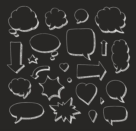 Hand drawn set of speech bubbles and arrows. White print on black background Ilustração
