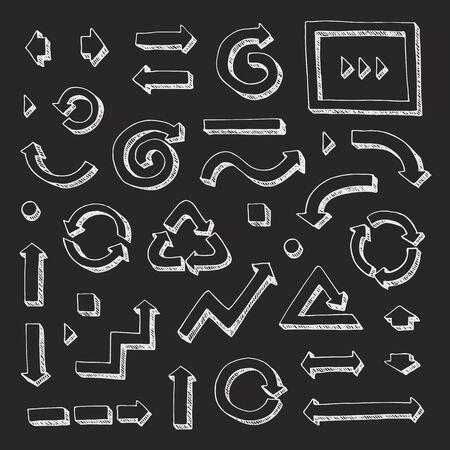 Hand drawn vector arrows set on black background Ilustração
