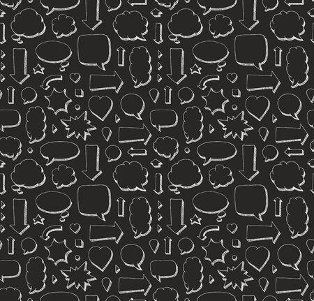 Hand drawn seamless pattern of speech bubbles and arrows. White print on black background Ilustração