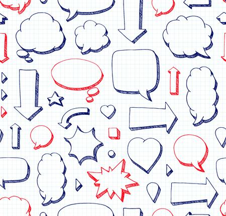 Hand drawn seamless pattern of speech bubbles. School style Ilustração