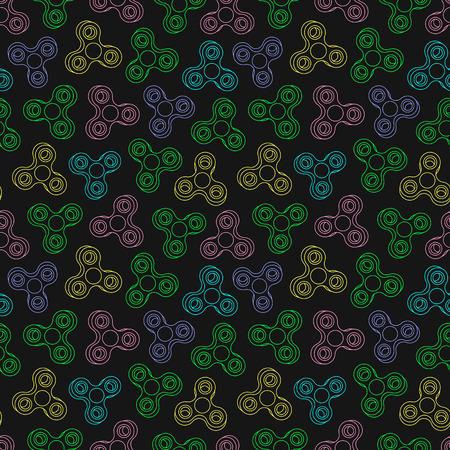 Hand Spinners Seamless pattern. Vector illustration on black background Ilustração