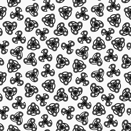 Hand Spinners Seamless pattern. Vector illustration on white background Ilustração