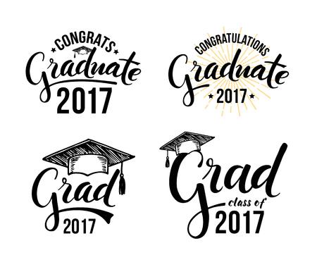 Set of graduation labels. Vector isolated elements for graduation design, congratulation event, party, high school or college graduate. Congratulations graduate 2017 Illustration