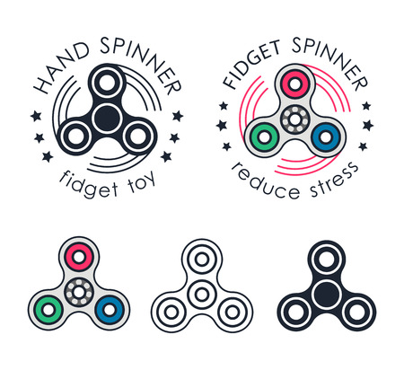 Hand Spinner emblems. Vector illustration on white background