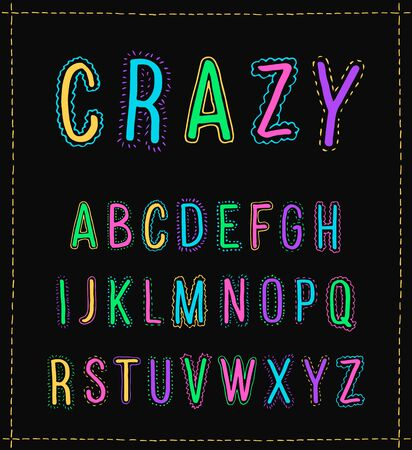 Vector handwritten alphabet. Uppercase letters isolated on black background. Crazy font