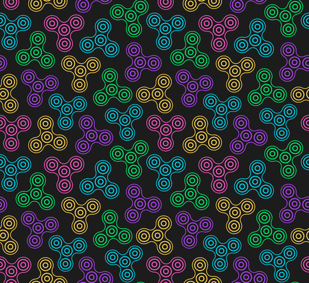 Hand Spinners Seamless pattern. Vector illustration on black background Ilustração
