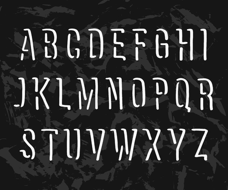 Vector handwritten alphabet. Uppercase letters on black textural background. Ilustração