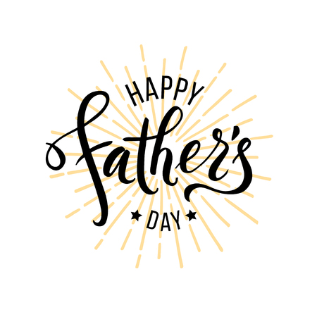 Happy Fathers Day greeting. Hand drawn lettering for greeting card Ilustração
