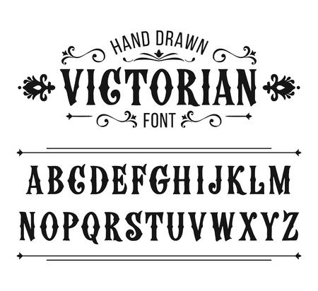 Hand drawn letters. Vector alphabet in Victorian style Ilustração
