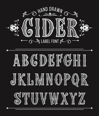 Vintage cider label font for design in vintage style. Vector typeface for labels and any type designs. Ilustração