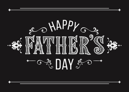 Happy Fathers Day greeting in vintage style. Hand drawn lettering for a greeting card on a blurred background. Greeting dad.