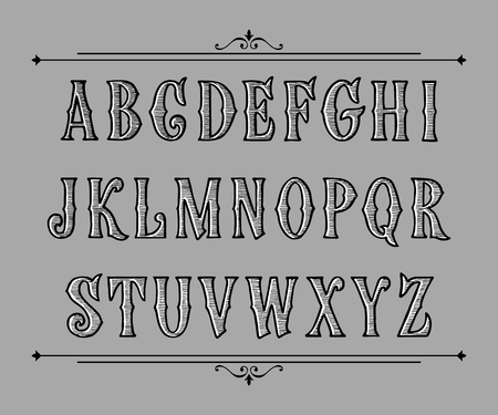 Hand drawn label font for design in vintage style. Vector typeface for labels and any type designs.