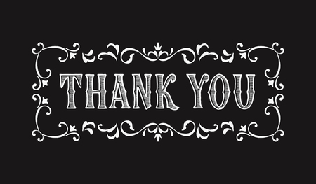 Thank you lettering for greeting card in Victorian style. Design of greeting cards in vintage style Ilustração