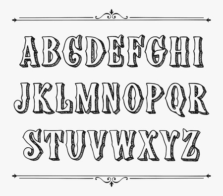 Hand drawn label font for design in vintage style vector typeface for labels and any type designs Ilustração