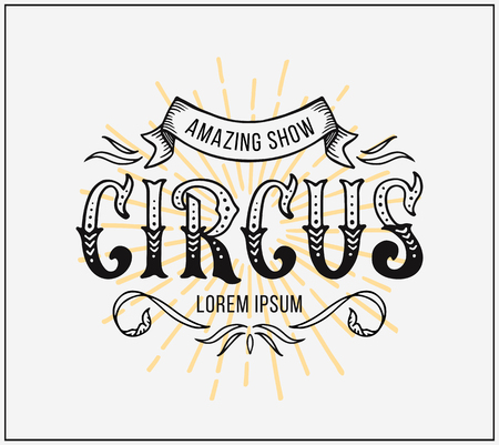 Circus Poster. Vector lettering on white background
