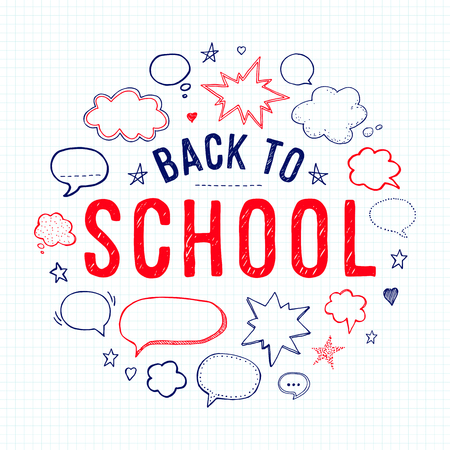 Back to school lettering and speech bubbles on lined notebook paper