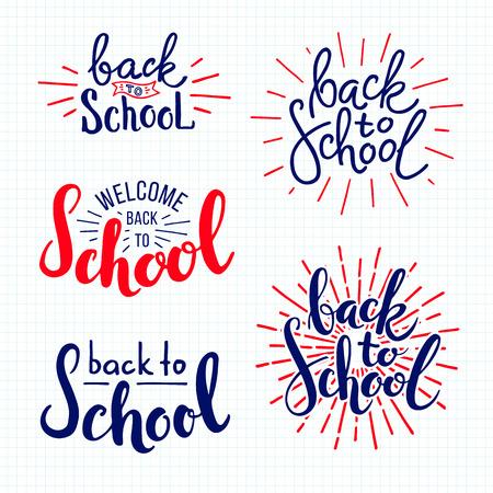 Back to school. lettering on lined notebook paper Ilustração